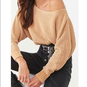 Off the Shoulder Chenille Sweater Camel M